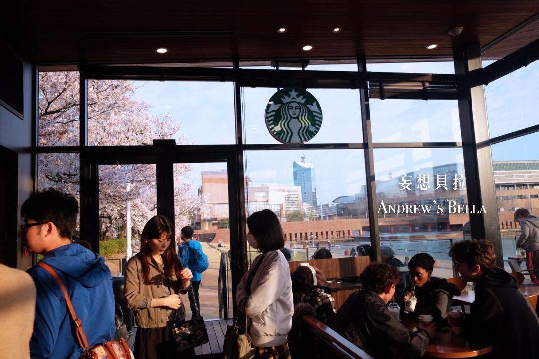 富山旅遊 賞櫻景點推薦 星巴克內座位