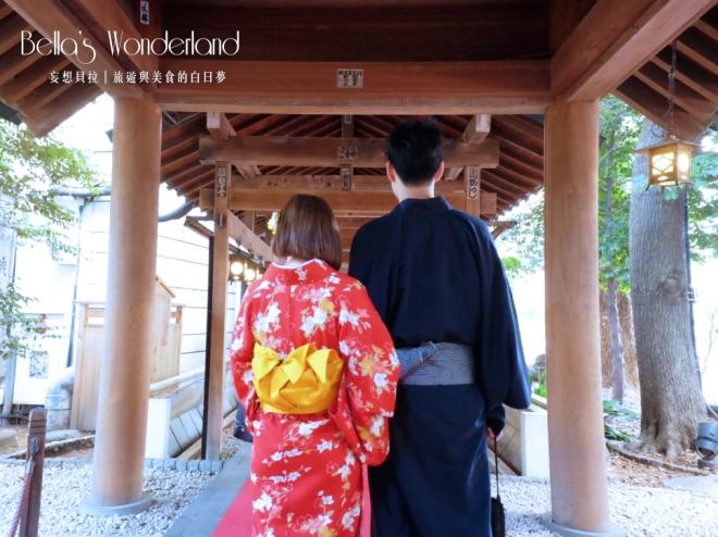 川越和服柚屋 和服與神社走廊
