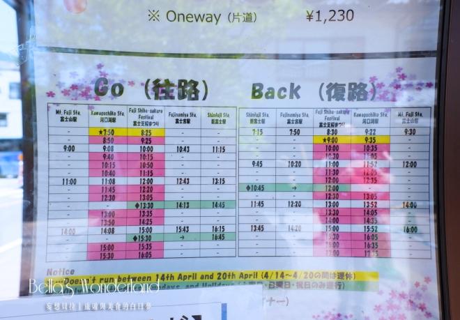 河口湖景點 富士芝櫻祭 發車時刻表