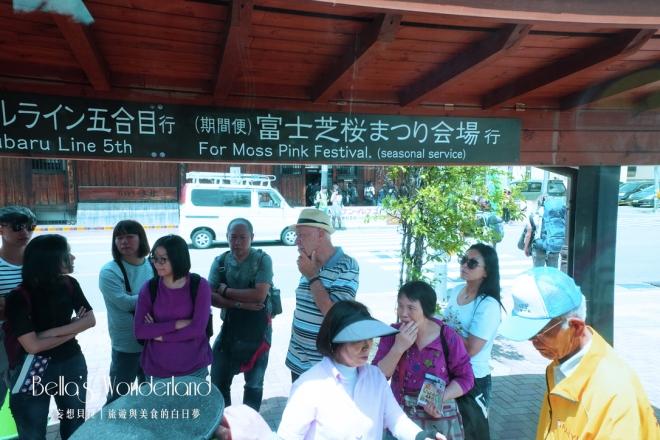 河口湖景點 富士芝櫻祭 等待上車候車