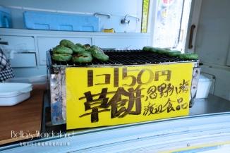 河口湖景點 芝櫻祭會場限定必買伴手禮 烤草餅攤販